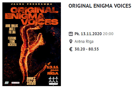 Original Enigma Voices - Arena Riga 2020